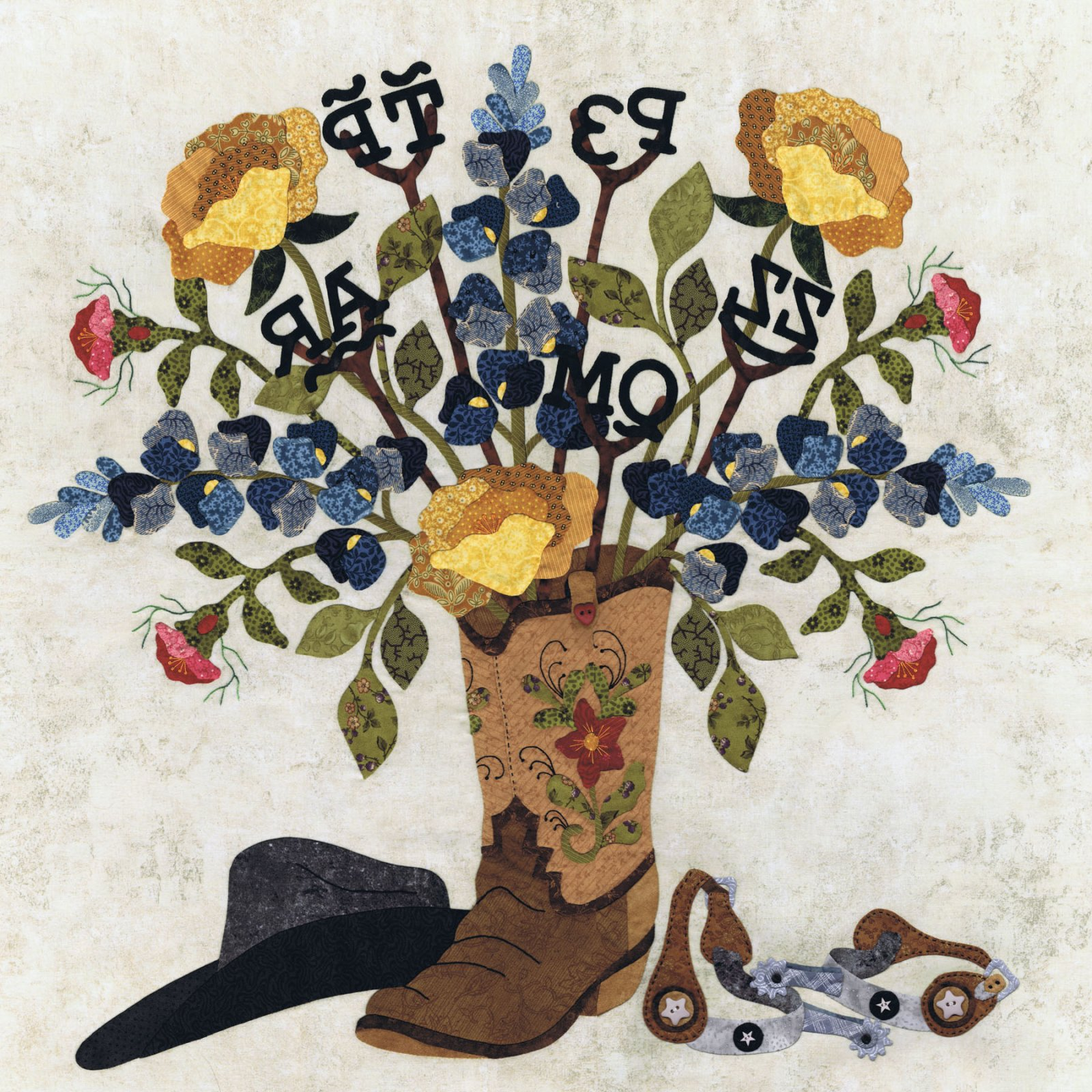 P3-1913 Cowboy Bouquet & Barbed Wire Swag Border