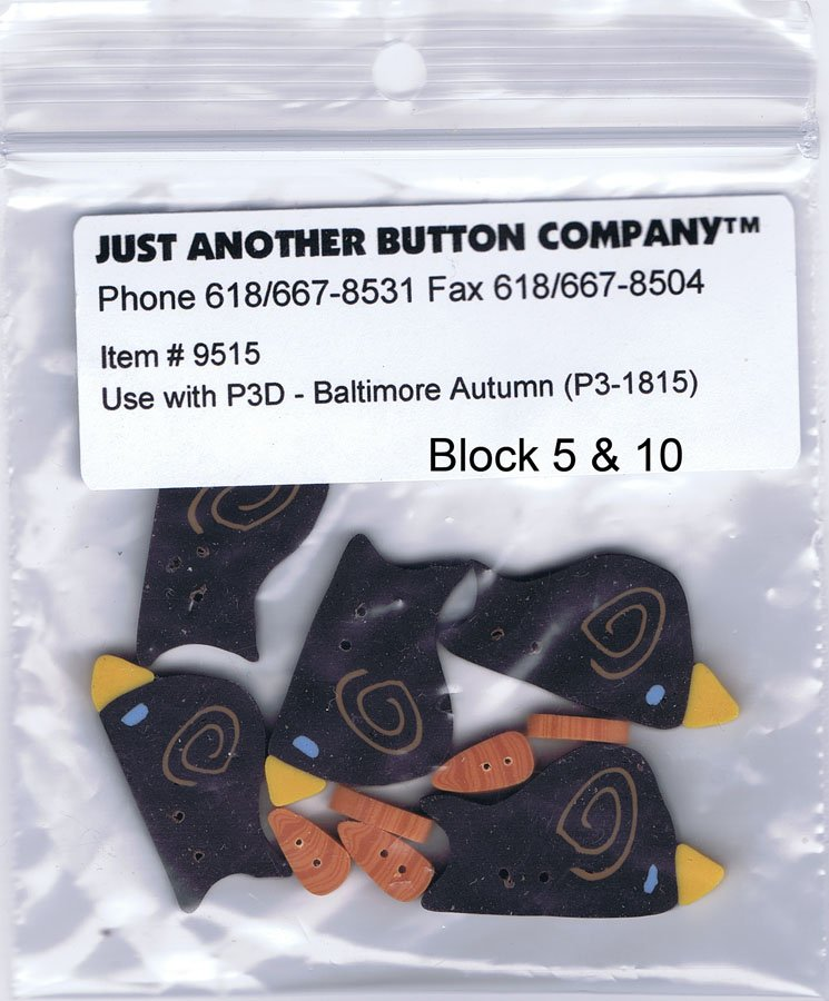 P3-1815 Baltimore Autumn Button Crows Set #2