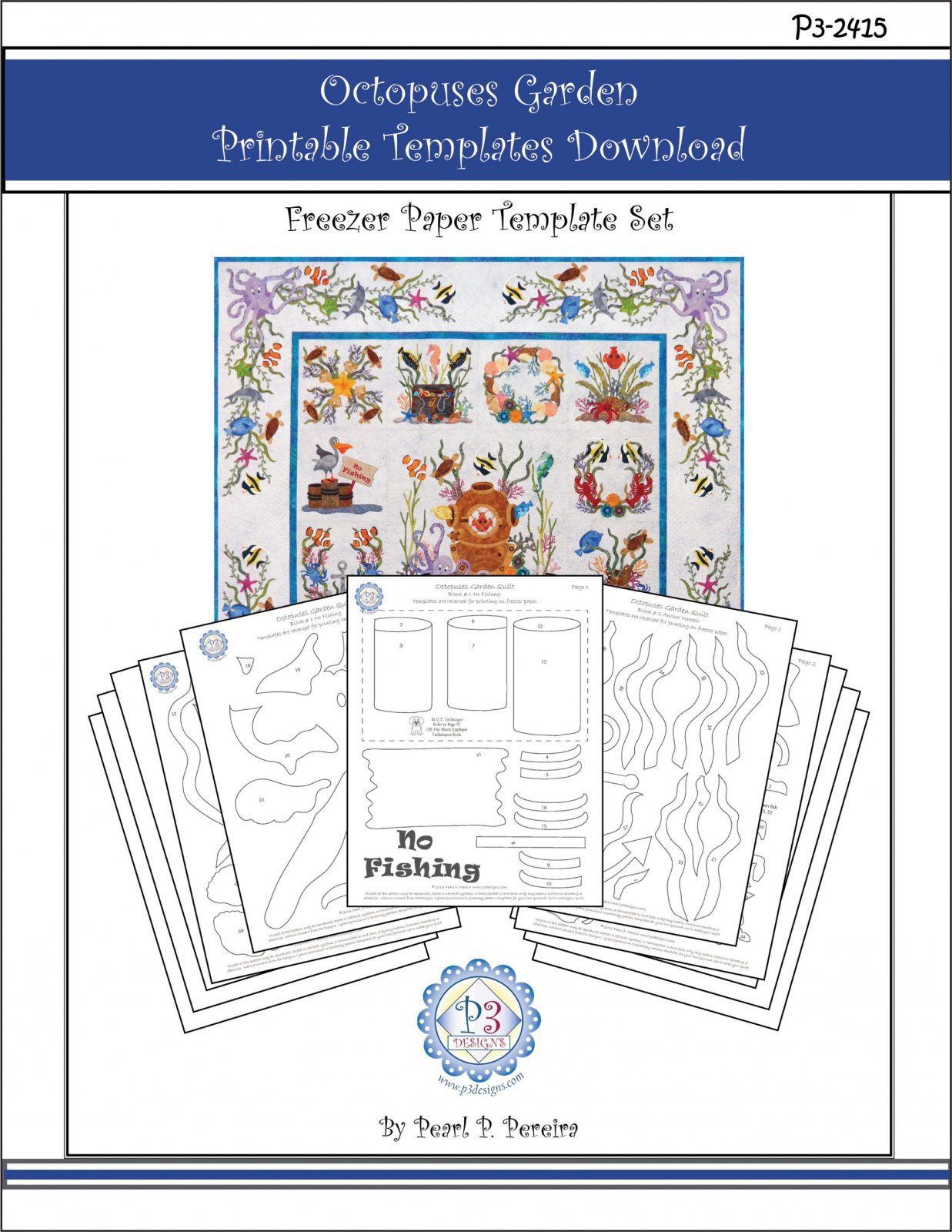 P3-2415 Octopuses Garden Printable PDF Template  Download Only