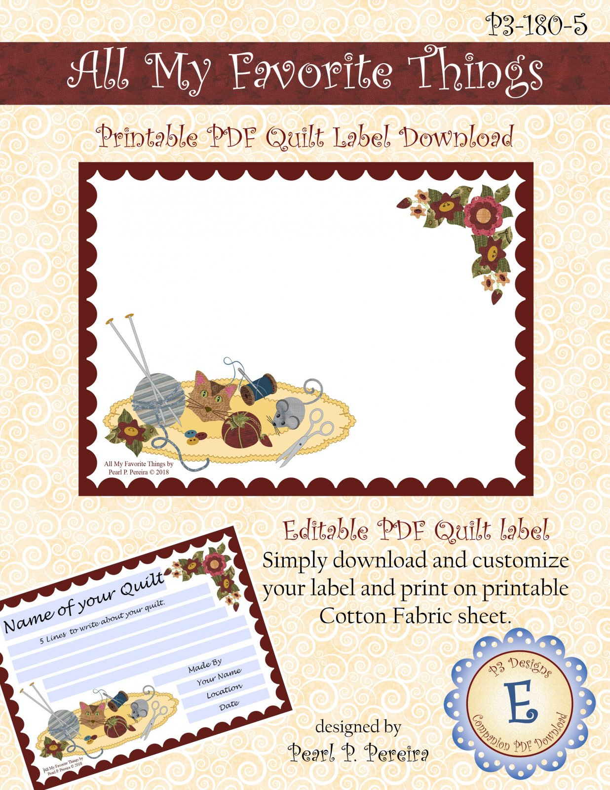 P3-180-5 All My Favorite Things - Printable Quilt Label PDF Download