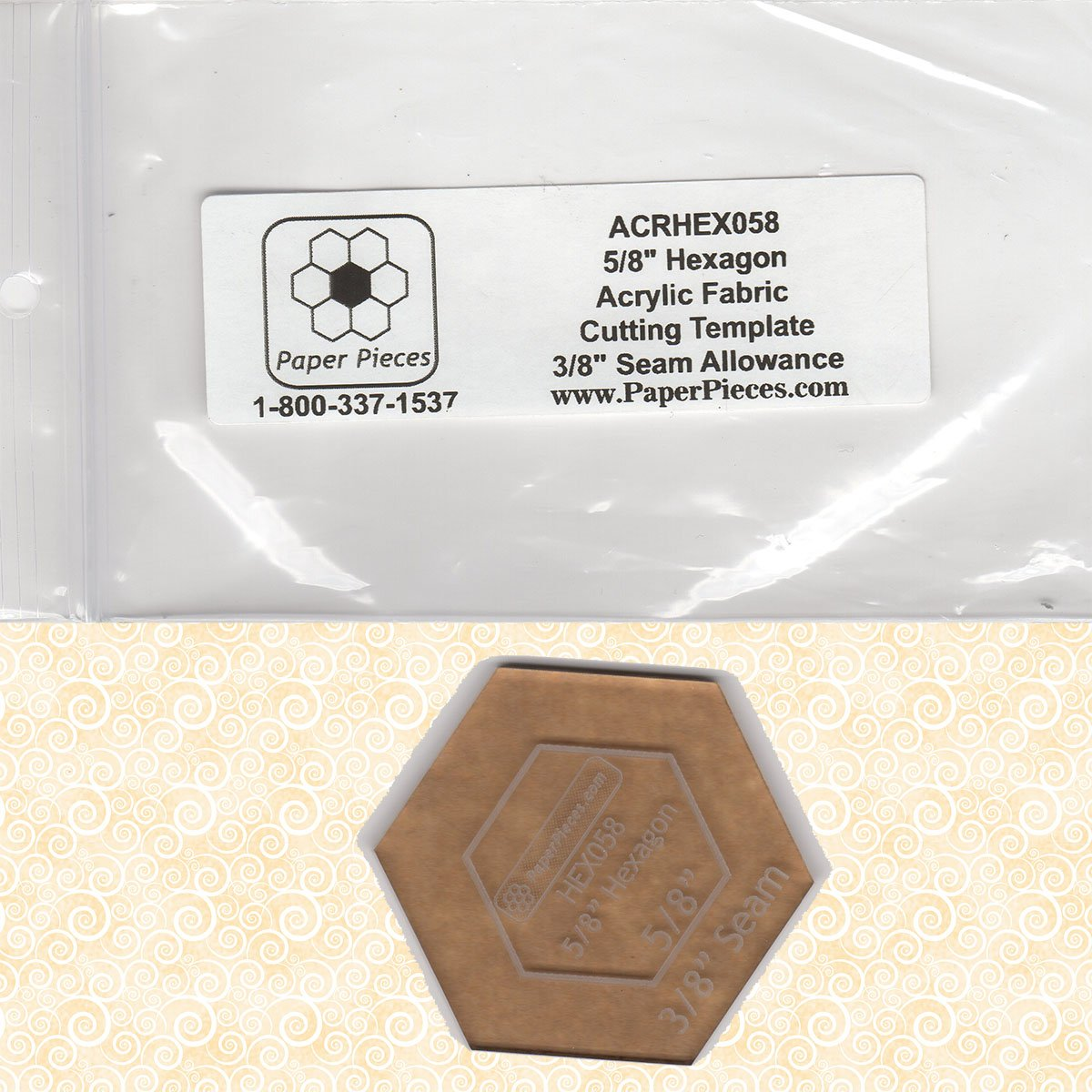 P3-375 Acrylic 5/8 Hexagons Template