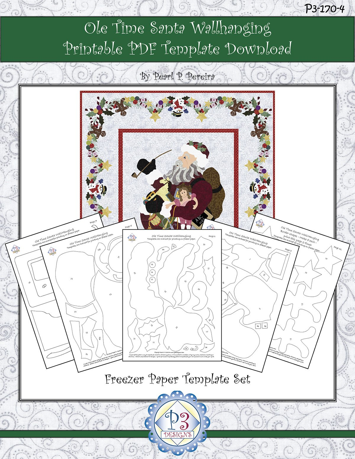 P3-170-4 Ole Time Santa Wallhanging  Printable PDF Template  Download only