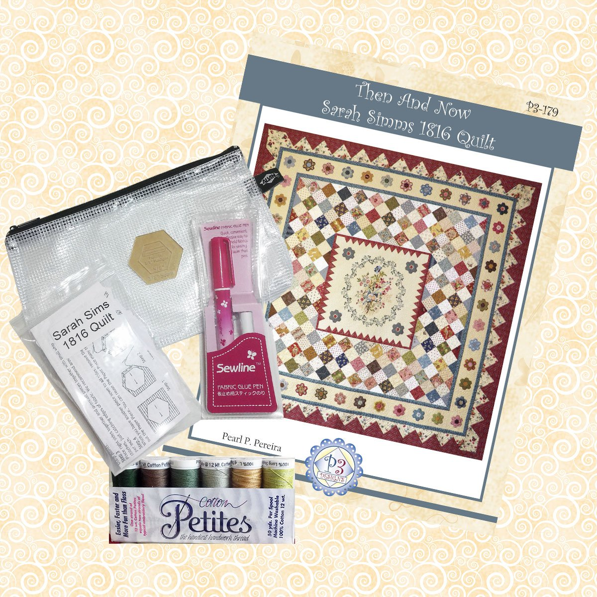 P3-179-Set Sarah Simms Pattern & Hexagon Kit
