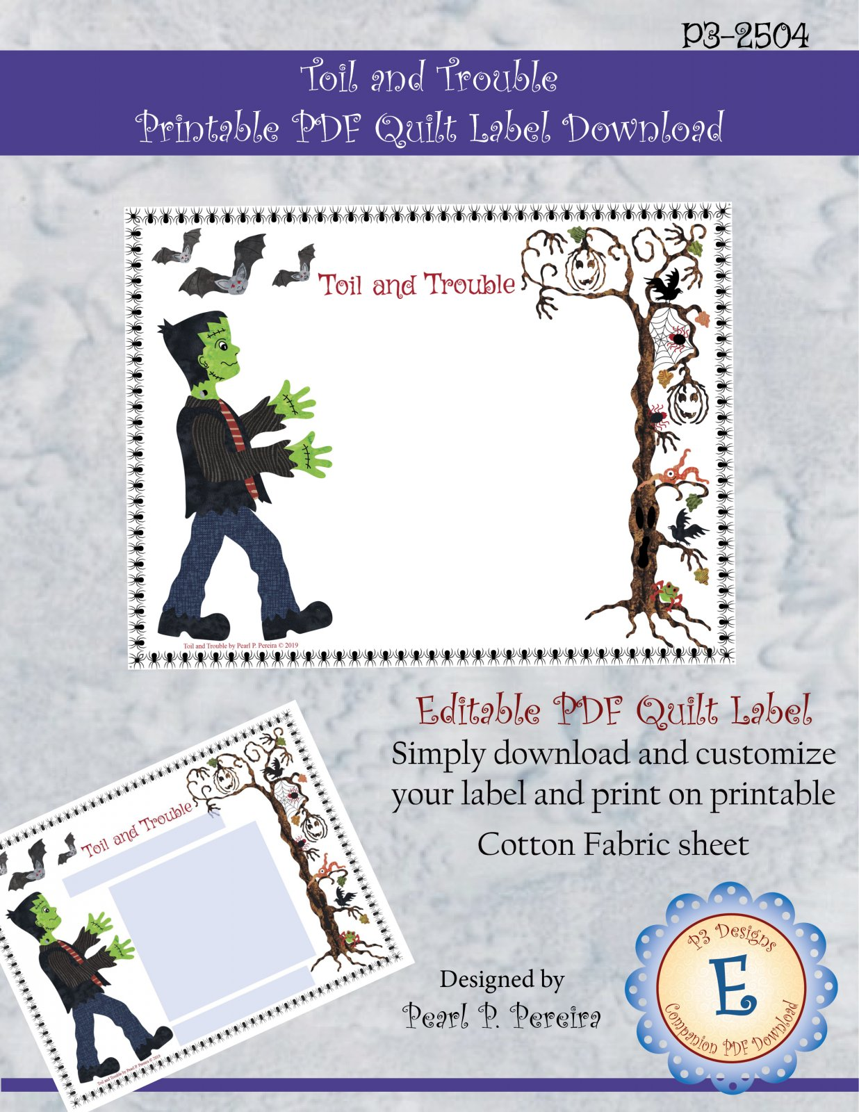 P3-2504 Toil and Trouble - Printable Quilt Label PDF Download