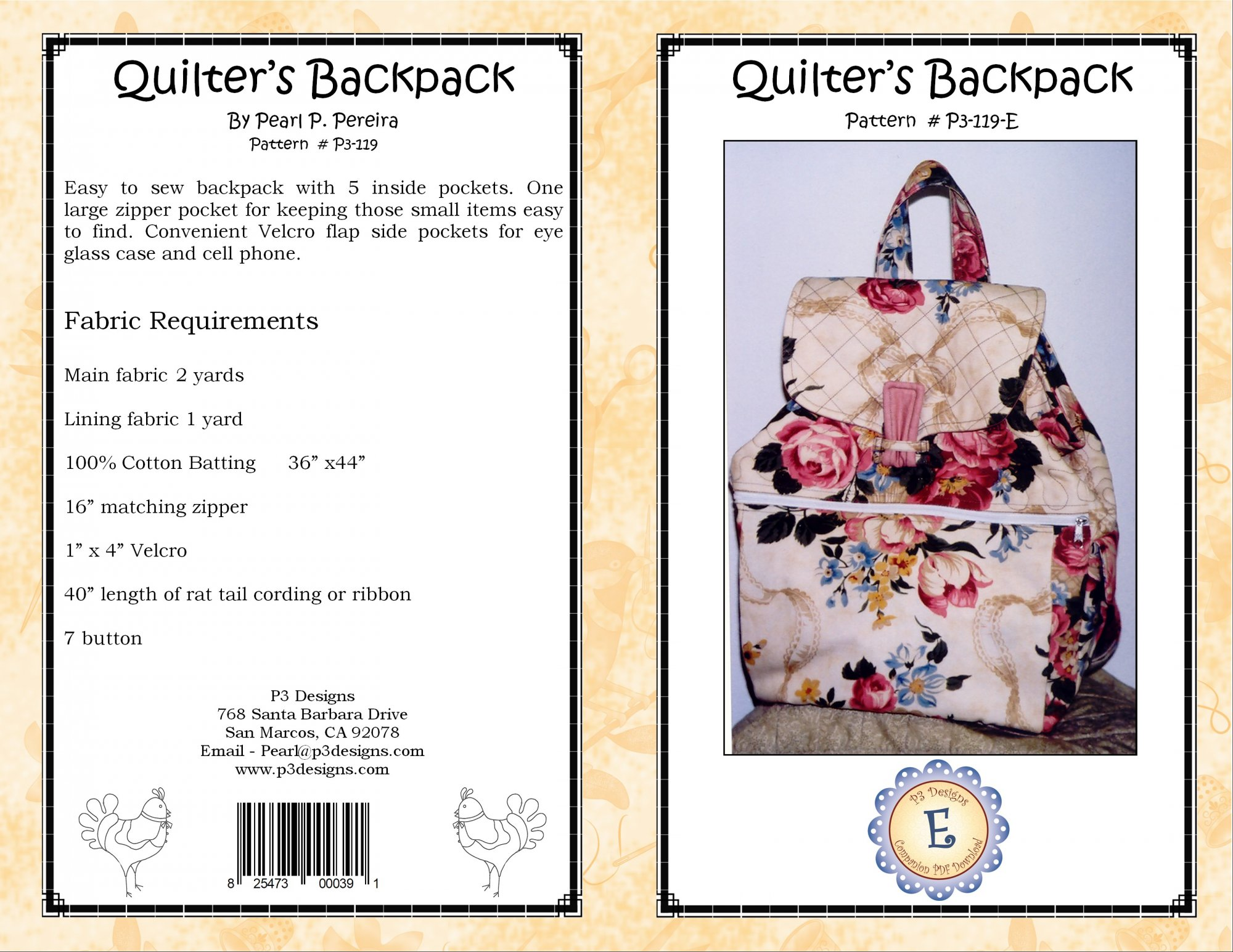 P3-119-E Quilter's Backpack PDF Pattern
