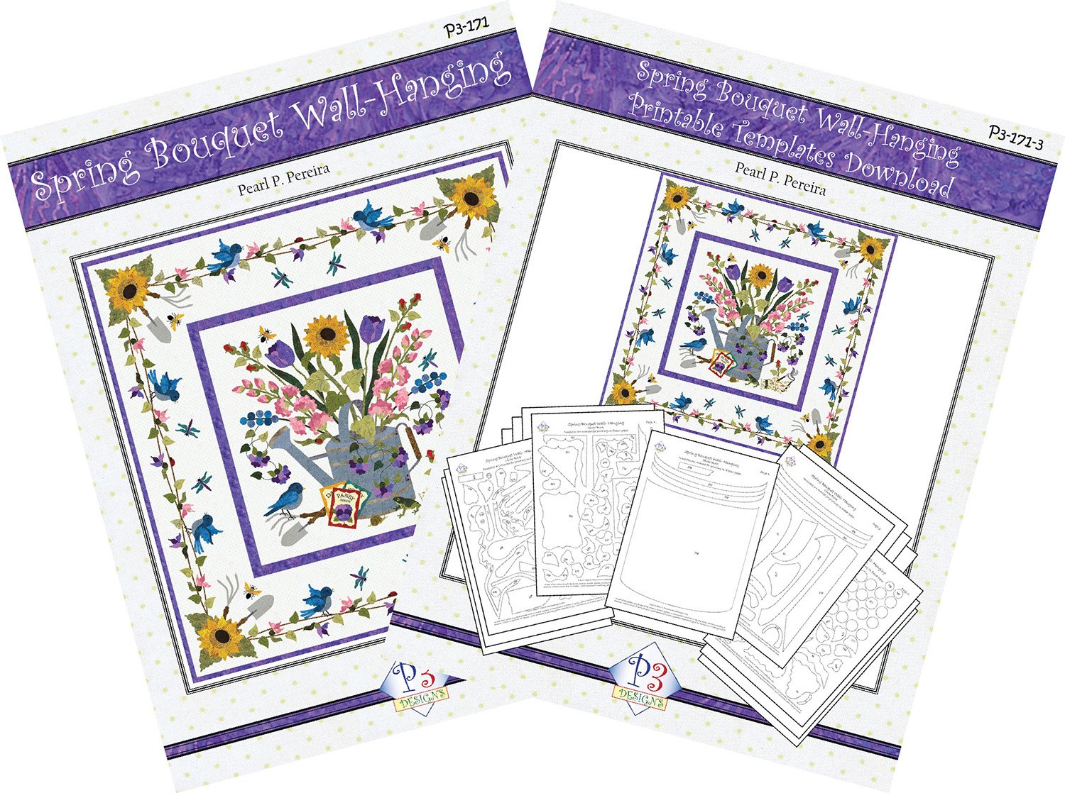 P3-171-Set Spring Bouquet Wall-Hanging Pattern & Printable PDF Template Download
