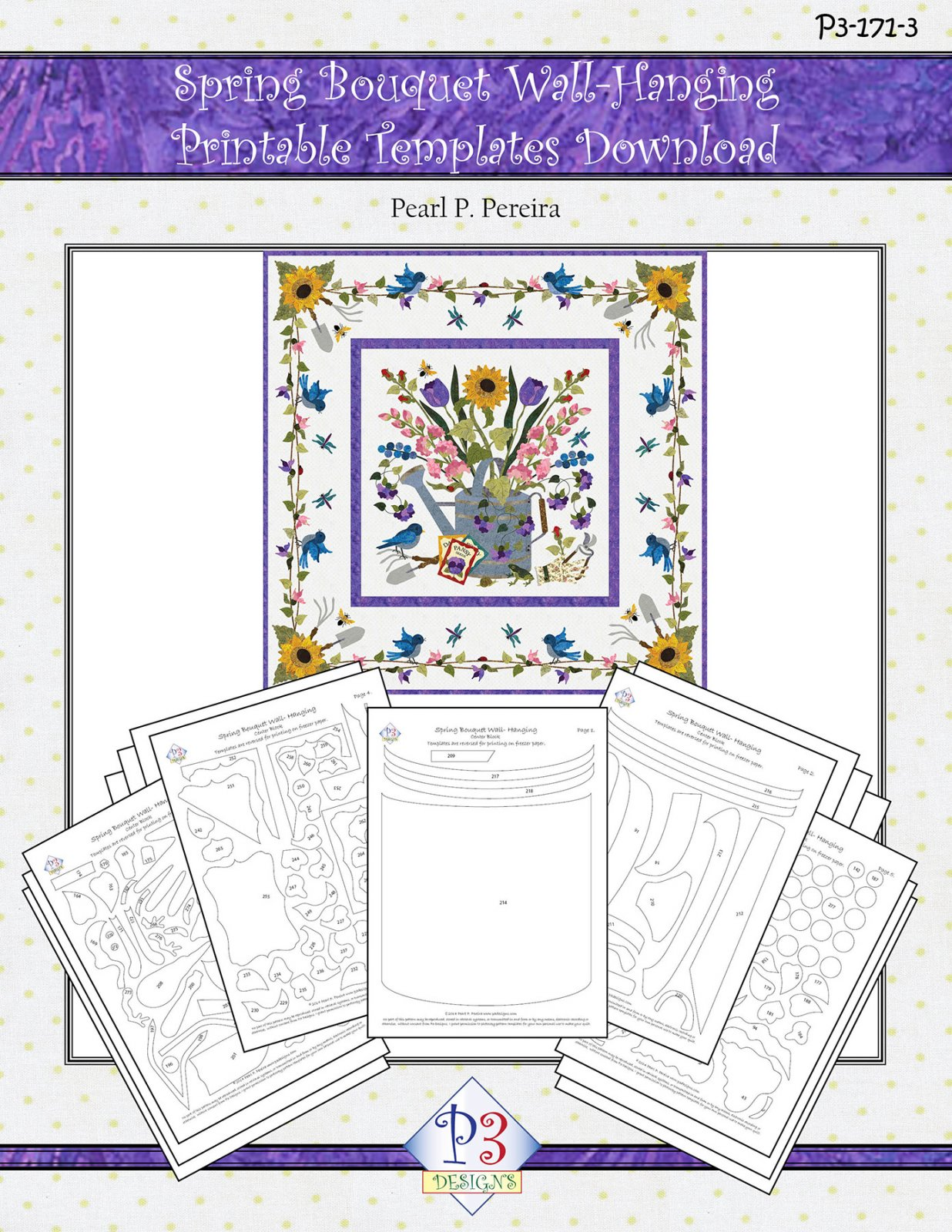 P3-171-3 Spring Bouquet Wall-Hanging Printable PDF Template Download only