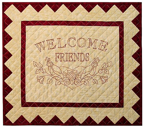 P3-162 Welcome Friends Redwork Wall-Hanging