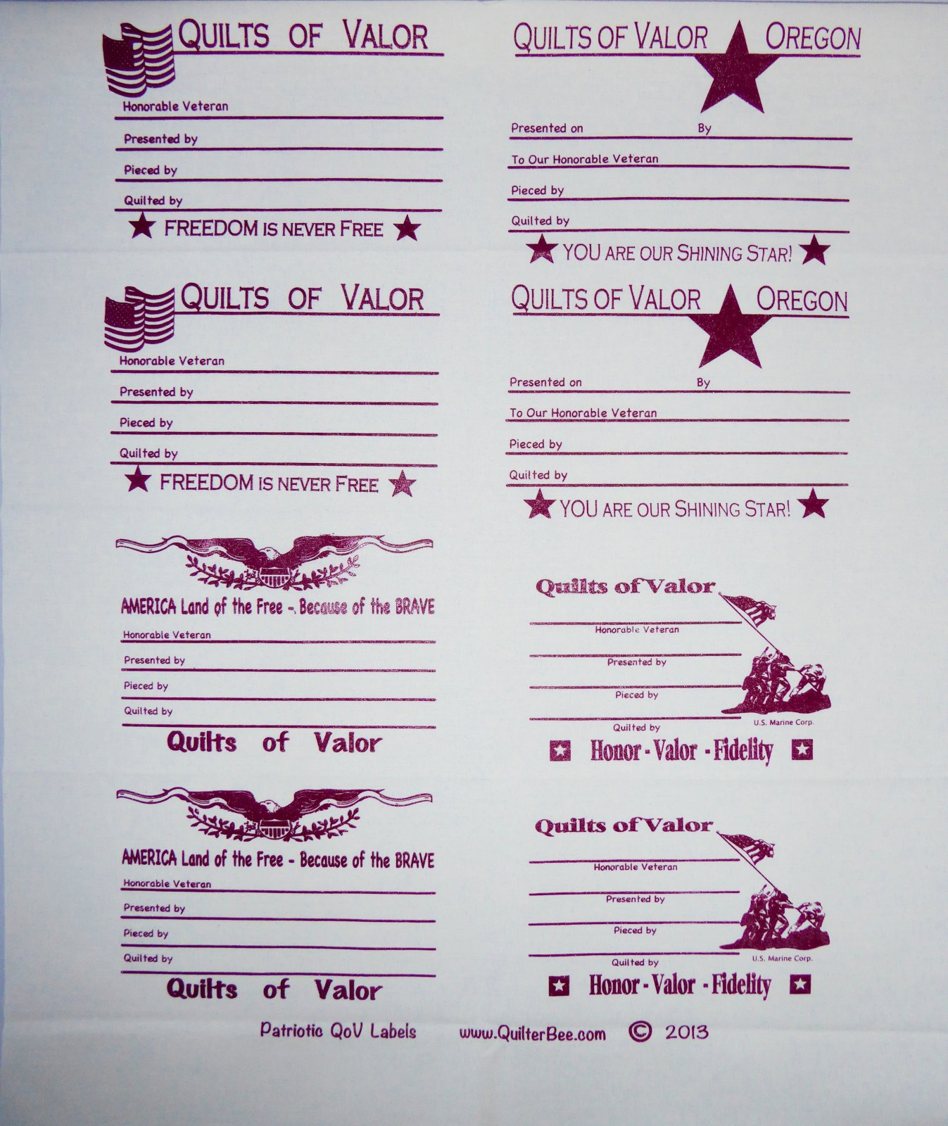 Labels - for Quilts of Valor - Dark Red