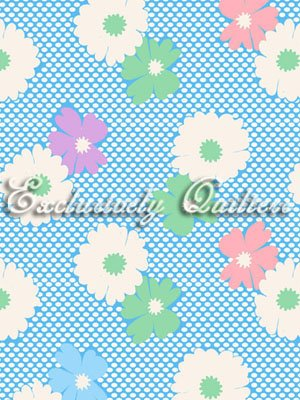 1930's Classics Large Flowers - pink/white/blue (140417)
