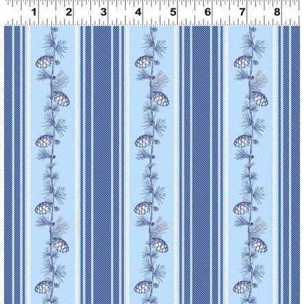 A Winter's Tale Pine Cone Stripe - blue Y2230-29