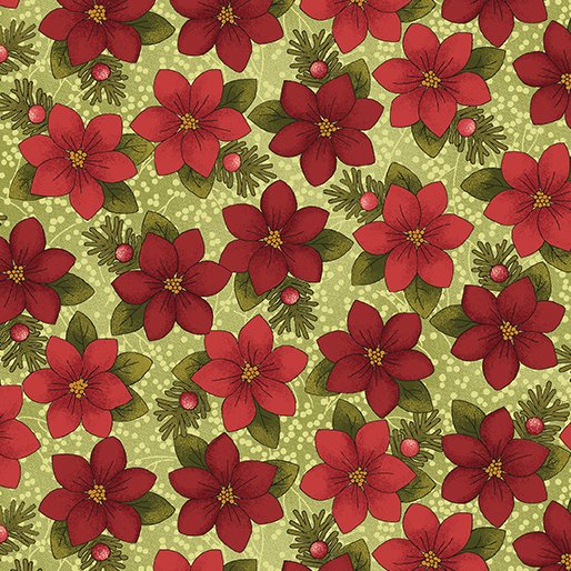 A Moose for Christmas Tossed Poinsettias - red/green 1543-04