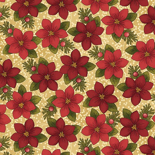 A Moose for Christmas Tossed Poinsettias - red/gree/brown 1543-07