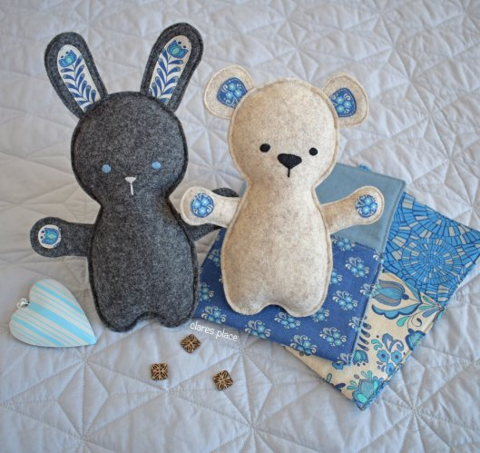 Bed Time Bunny and Bear softie by Clares Place2