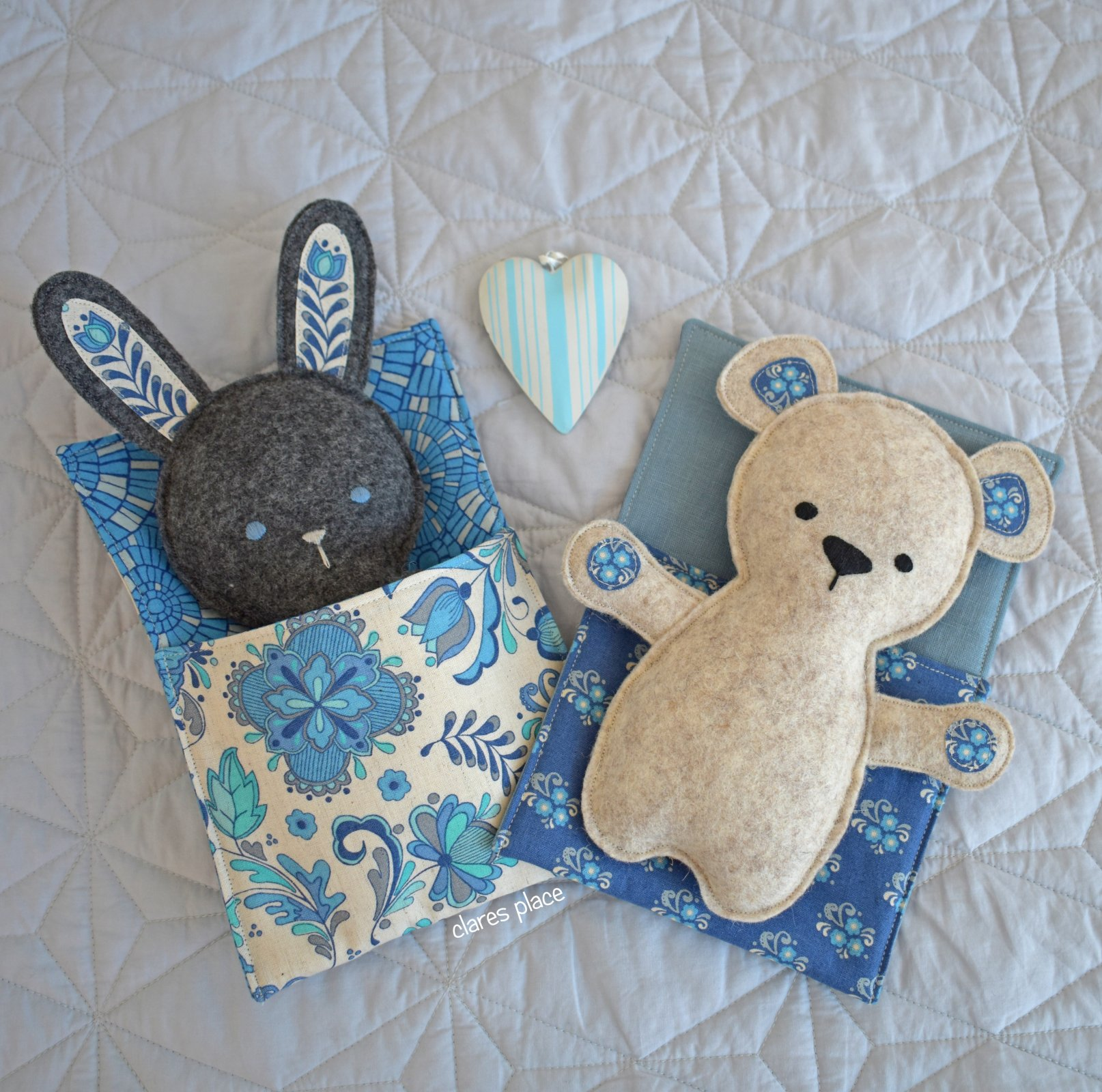 Bed Time Bunny and Bear softie by Clares Place 1