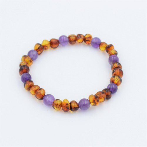 Lemon Vines Ambition Stretch Bracelet, Polished Cognac Baltic Amber and Amethyst