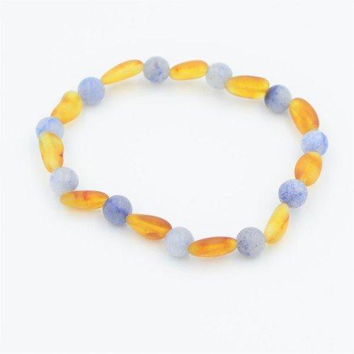 Lemon Vines Daydream Stretch Bracelet, Unpolished Honey Baltic Amber and Blue Aventurine