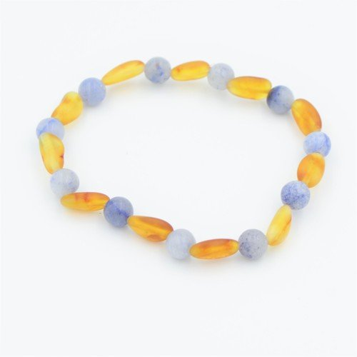 Lemon Vines Daydream Stretch Bracelet, Unpolished Honey Baltic Amber and Blue Aventurine