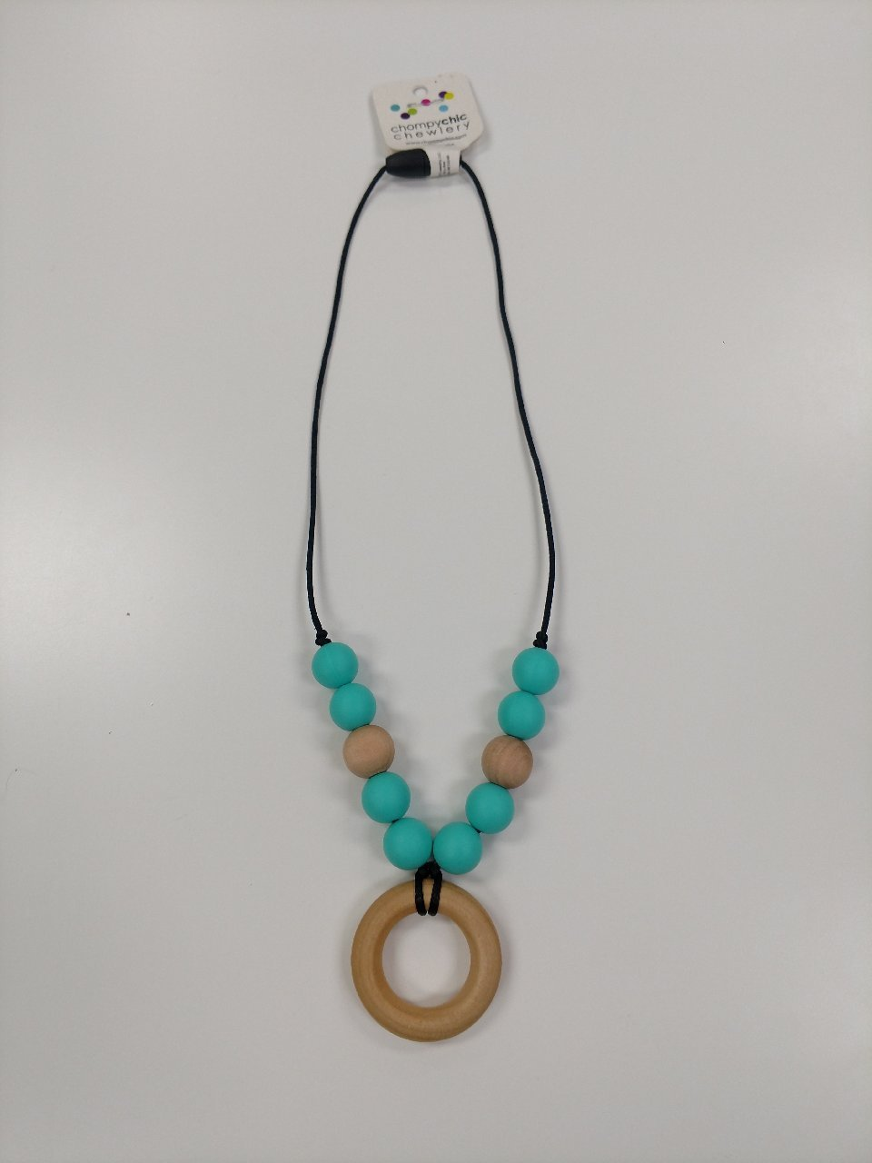 Chompy Chic Kids Wooden Ring With Silicon Necklace