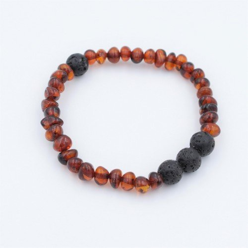 Lemon Vines Polished Cognac Aromatherapy Baltic Amber Bracelet