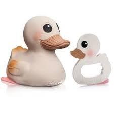 Hevea Kawan rubber duck and teether set