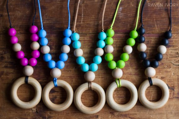 Chompy Chic Wood Ring with Silicone Necklace