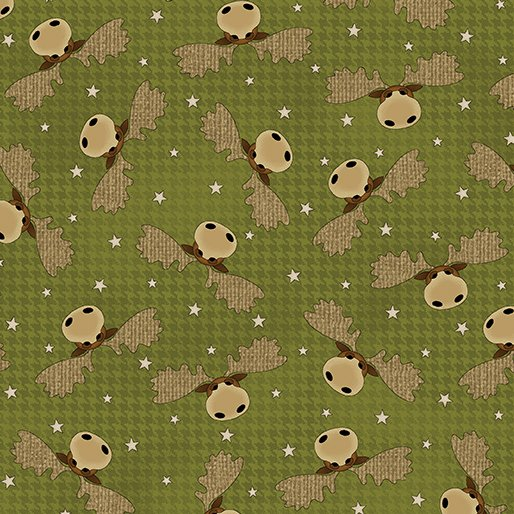 Another Moose Is Loose - Benartex 0961144B Moosehead Houndstooth Green