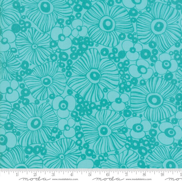 Moda | Botanica 11842 19 Turquoise Floral by Crystal Manning