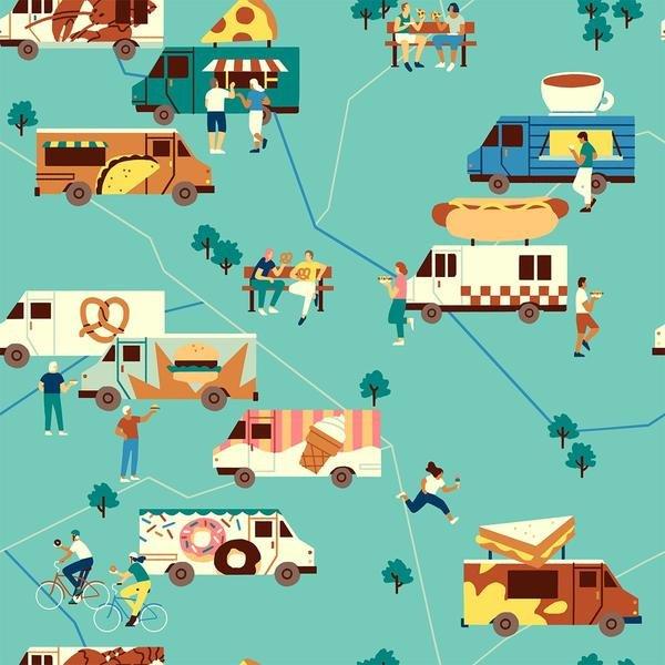 Food Trucks by Jeannie Phan | 120-209361 Food Trucks Turquoise