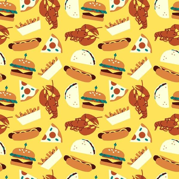 Food Trucks by Jeannie Phan | 120-209401 Food Yellow - Lobster Burger Hot Dog