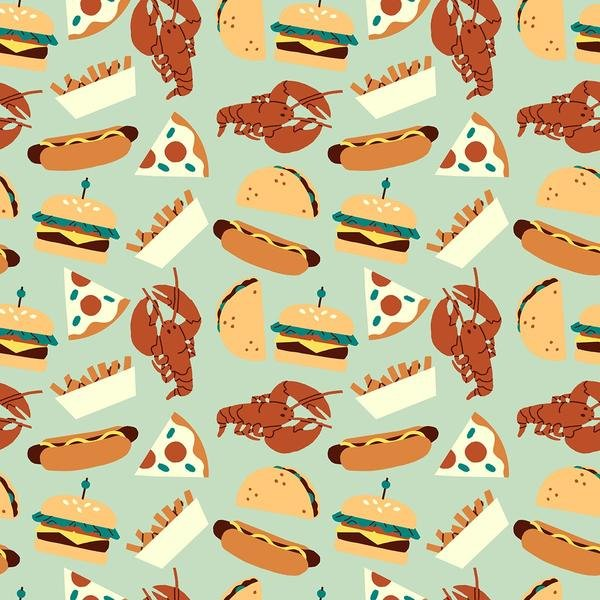 Food Trucks by Jeannie Phan | 120-209402 Food Turquoise - Lobster Burger Hot Dog