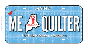 2018 Row By Row Experience Fabric License Plate Maine Quilter