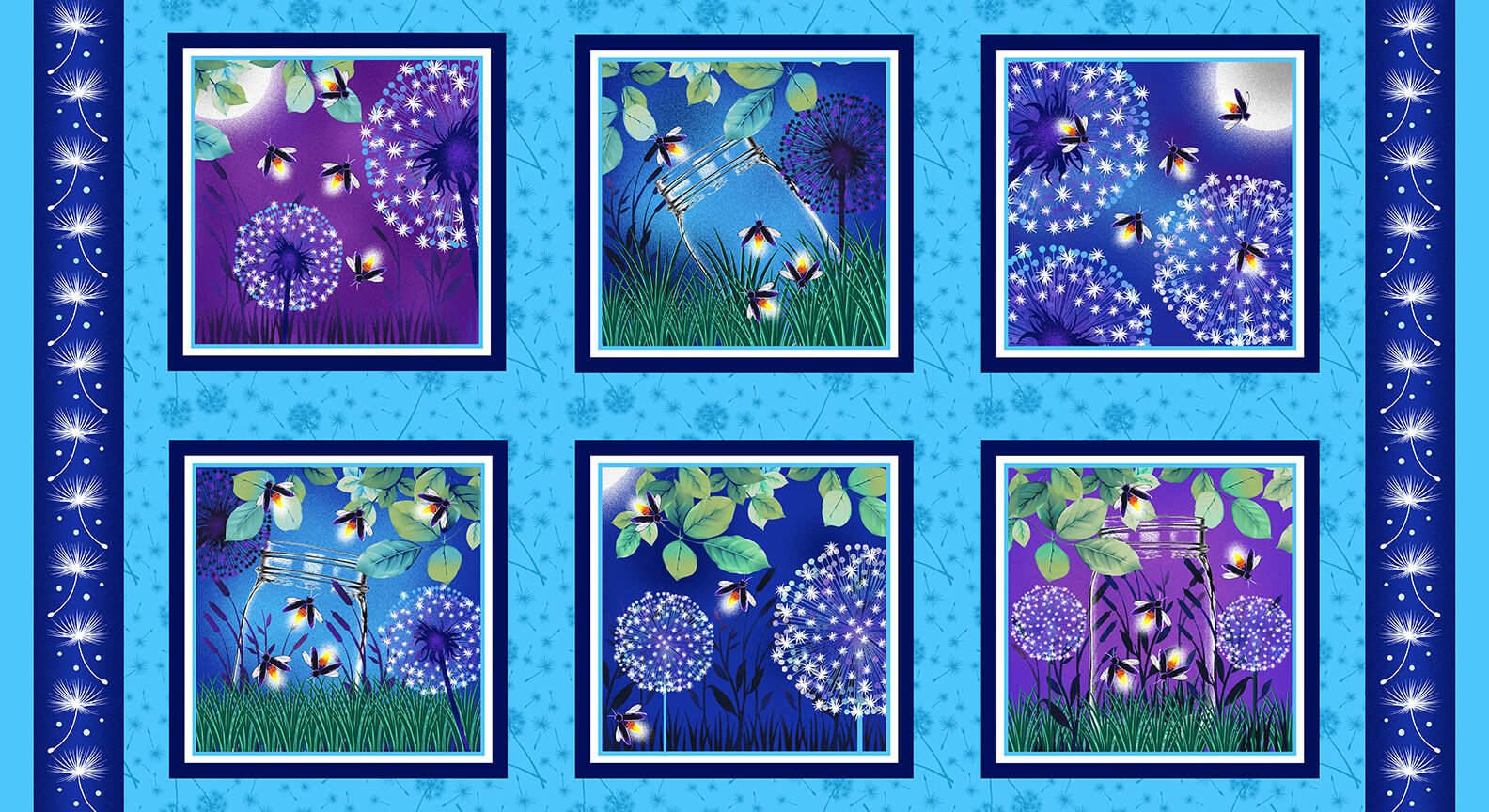 Blank - Let Your Light Shine 1373G-17 Blocks PANEL Fireflies Dandelions Glow in the Dark