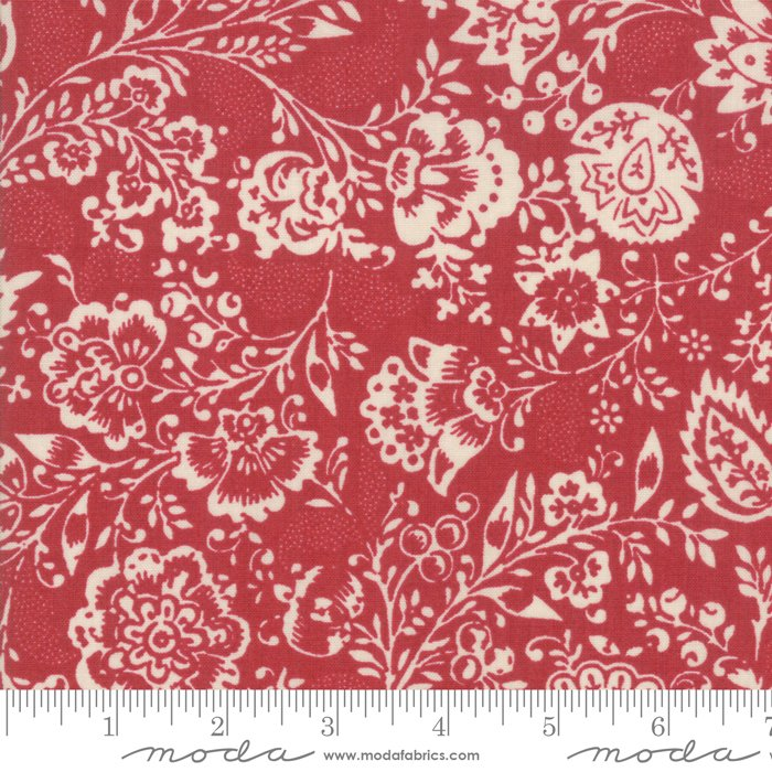 Moda | French General | Chafarcani 13850 11 Rouge Carmine Red Floral