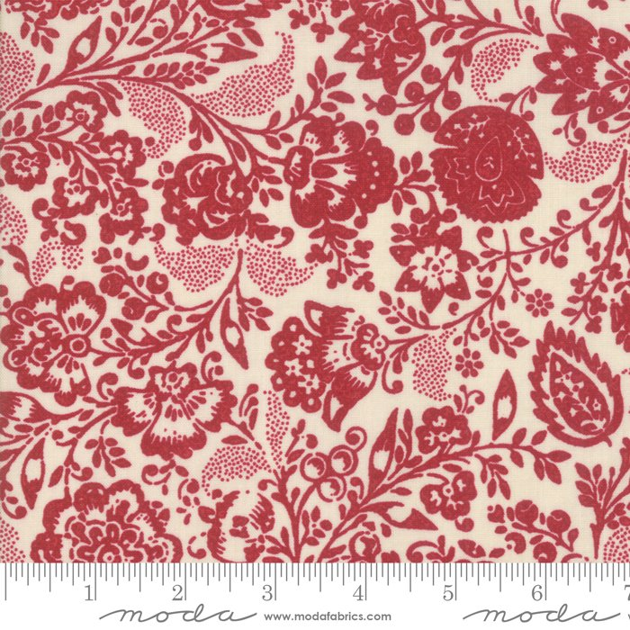Moda | French General | Chafarcani 13850 13 Rouge Pearl Carmine Red Floral