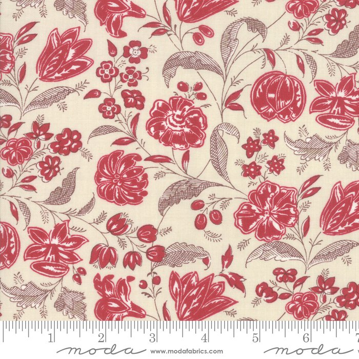 Moda | French General | Chafarcani 13853 12 Rouge Pearl Floral
