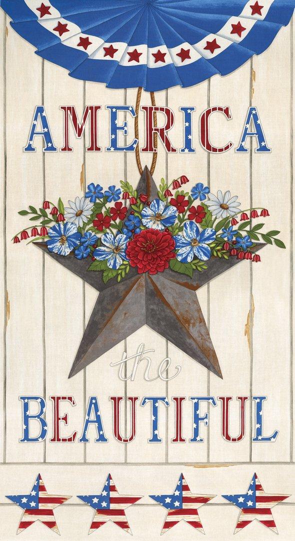 Moda - America The Beautiful 19980 12 White PANEL by Deb Strain Tin Star Bunting