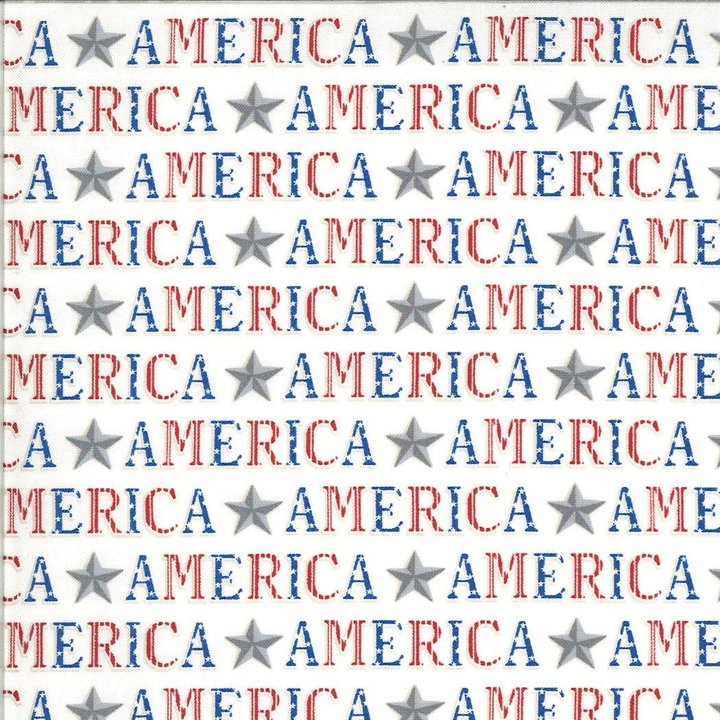Moda - America The Beautiful 19983 12 White American Type Words by Deb Strain