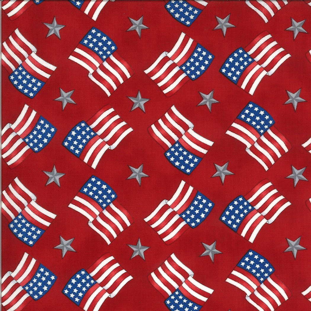 Moda - America The Beautiful 19986 11 Barnwood Red Flags Stars by Deb Strain