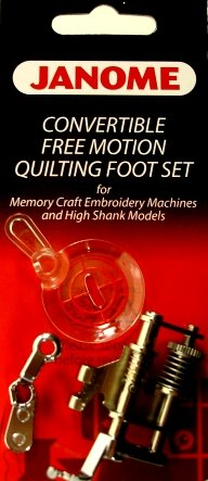 Janome Convertible Free Motion Quilting Foot Set 202001003 for High Shank / Memory Craft Embroidery Machines