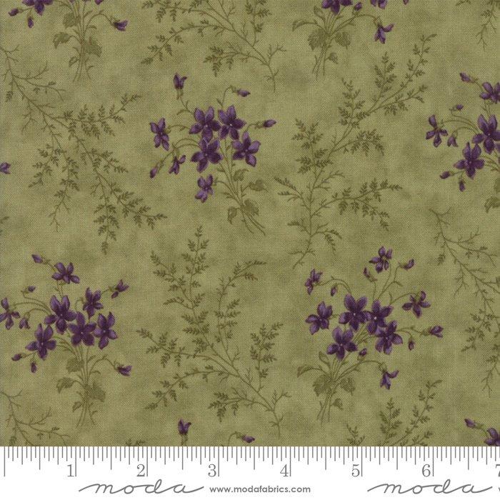 Moda | Sweet Violet by Jan Patek 2221-13 Violet Ferns in Leaf Green