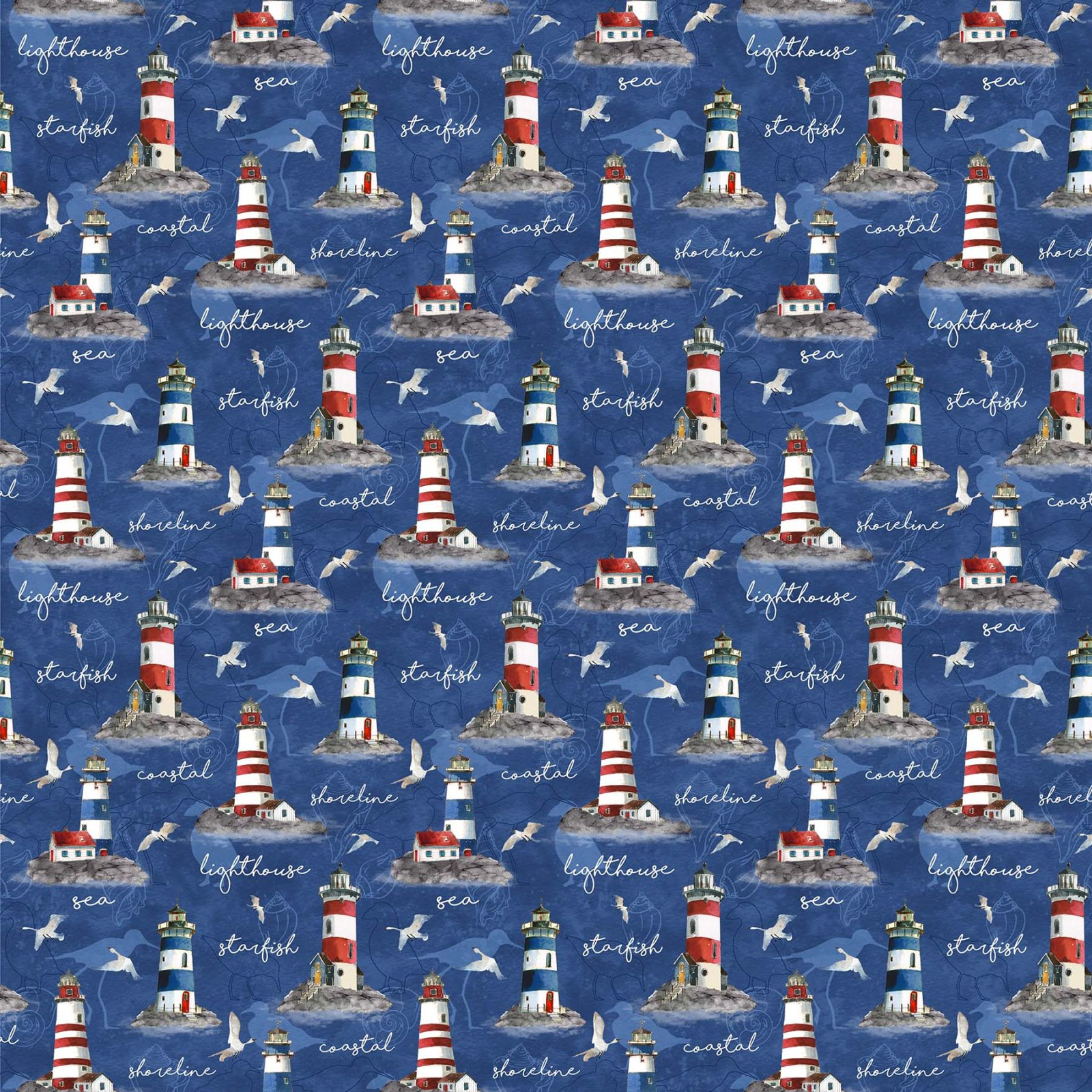 Northcott | Atlantic Shore 22607-44 Lighthouses and Text