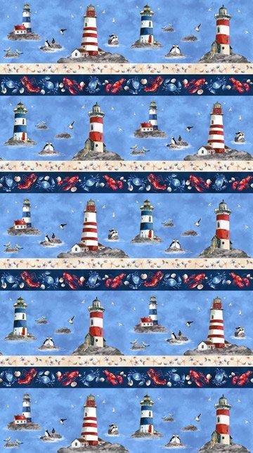 Northcott | Atlantic Shore 22618 44 Lighthouse Lobster Stripe