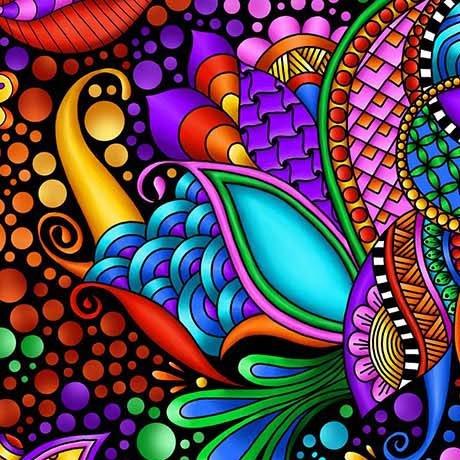 QT Fabrics Carnivale Floral - 26369 -JX - Geometric Black/Multi