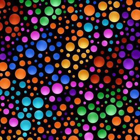 QT Fabrics Carnivale Dots - 26374 -JX - Dots Black/Multi