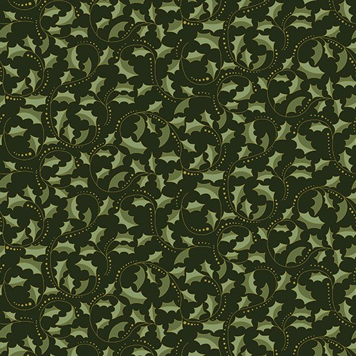 Benartex 2657M-44 Festive Chickadees /Festive Season - Golden Leaf Scroll Black
