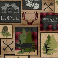 QT Fabrics Moose Trail Lodge - 26682-A - Lodge Patch - Tan