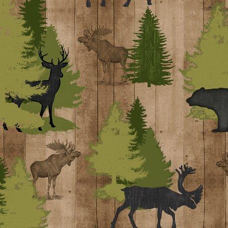 QT Fabrics Moose Trail Lodge - 26683-A - Animals & Pine Trees - Tan