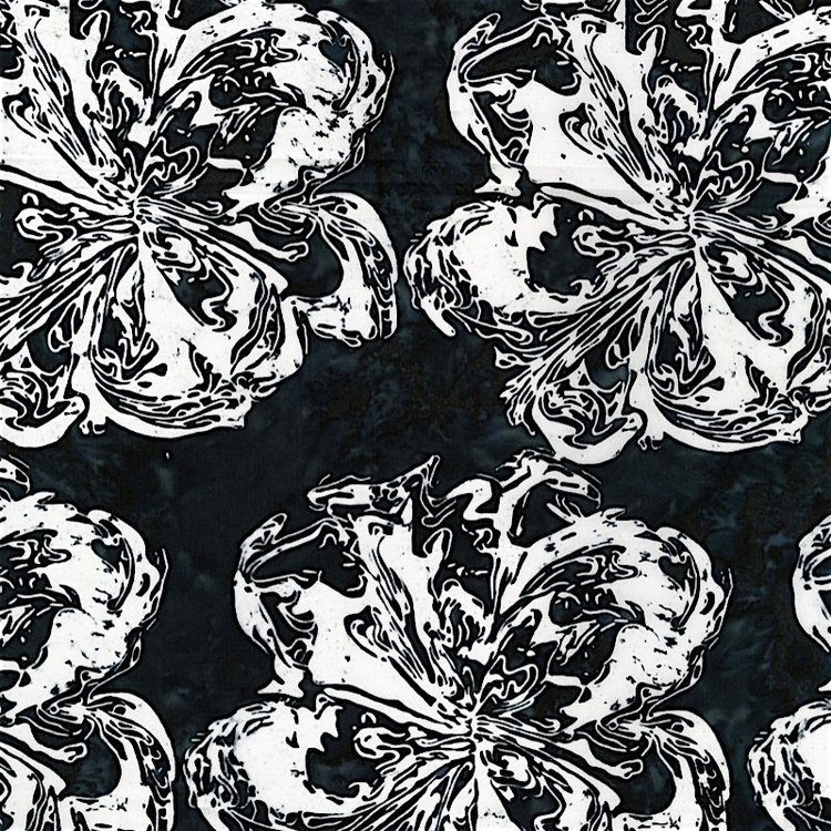 RJR Blossom Batiks 2805-001 Blossom Batik Starling Black White