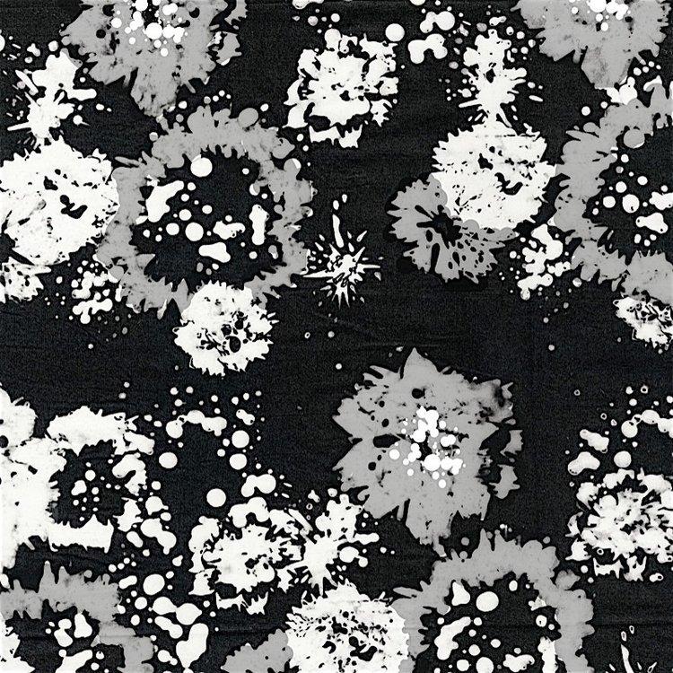RJR Blossom Batiks 2814-001 Starling Ink Floral Black White